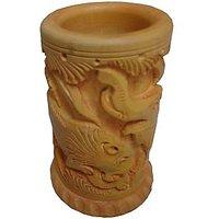 Parvidvap Handicrafts Wooden Carved Pen Stand