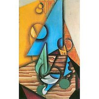 Bottle And Glass On A Table By Juan Gris - Fine Art Print