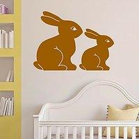 DeStudio Bunny Bunnies Rabbits Cute Animal Wall Sticker Decal Wall Sticker Size (45cms X 60cms)