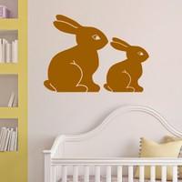 DeStudio Bunny Bunnies Rabbits Cute Animal Wall Sticker Decal Wall Sticker Size (60cms X 60cms)
