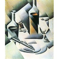 Still Life With Bottles And Knives By Juan Gris - Museum Canvas Print