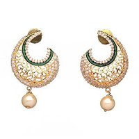 Alluring Gold Plated Green Meenakari Filigere Earring With Pearl Drop