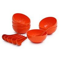Microwave Safe Food Grade Soup Bowl With Spoon Set Of 6 Pcs