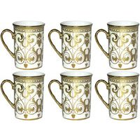 Brightline (White, Gold, Pack Of 6) In Cup Saucer