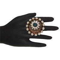Beautiful Kundan Ring With Pearl And Green Stone