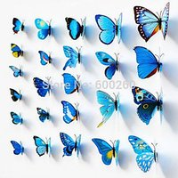 12pcs 3D Butterfly Sticker Art Wall Mural Door Decals Home Decor Room(BLUE)