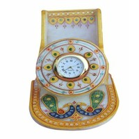 Anshul Fashion  Meenakari Work  Handicraft Marble Mobile Stand With Clock