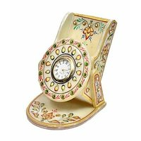 Anshul Fashion Kundan  Meenakari  Handicraft Marble Mobile Stand With Clock - 74525618