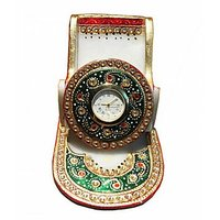 Anshul Fashion Kundan  Meenakari  Handicraft Marble Mobile Stand With Clock