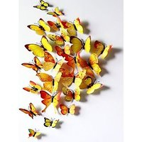 12pcs 3D Butterfly Sticker Art Wall Mural Door Decals Home Decor Room( YELLOW)