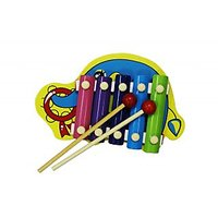 Cute Elephant Shape Multicolor Wooden Xylophone For Kids Musical Toy With 5 Note
