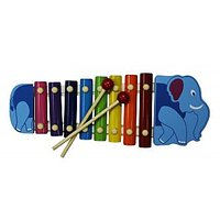 Cute Elephant Shape Multicolor Wooden Xylophone For Kids Musical Toy With 8 Note