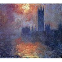 The Houses Of Parliament, Sunset By Monet - Museum Canvas Print