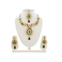 Panini Alloy Multicoloured Necklace Set With Mangtikka_2589