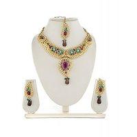 Panini Alloy Coloured Necklace Set With Mangtikka_2591