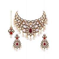 Panini Alloy Coloured Necklace Set With Mangtikka_3030