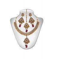 Panini Alloy Copper Base Necklace Set With Mangtikka_N_110