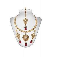 Panini Alloy Copper Base Necklace Set With Mangtikka_N_69