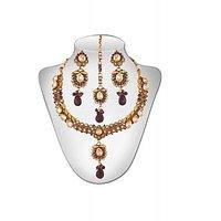 Panini Alloy Copper Base Necklace Set With Mangtikka_N_77