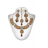 Panini Alloy Copper Base Necklace Set With Mangtikka_N_98