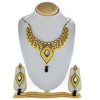 Asian Pearls & Jewels Green And Golden Necklace Set - 74583970