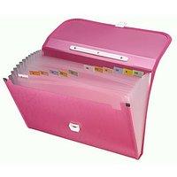Trio EPL12FHL Expanding Handle Lock File 13 Pockets FC (Set Of 1, Pink)