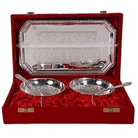 German Silver Set Of 2 Round Shape Bowls With 2 Spoons And Tray