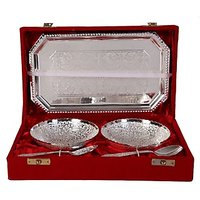 German Silver Set Of 2 Round Shape Bowls With 2 Spoons And Tray(FRH326)