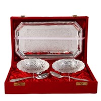 German Silver Set Of 2 Round Shape Bowls With 2 Spoons And Tray(FRH325)
