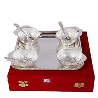 German Silver Set Of 4 Apple Bowls With 4 Spoons And Tray