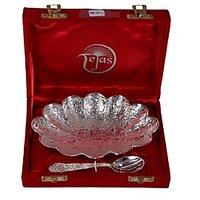 German Silver Flower Shape Single Bowl Set With Spoon