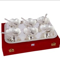 German Silver Set Of 6 Bowls With 6 Spoons And Tray