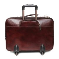Comfort 20 Inch Pure Brown Leather Trolley Bag For Men And Women EL89