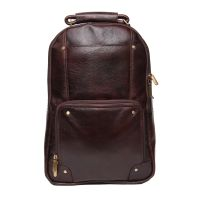 Comfort 18 Inch Pure Brown Leather Backpacks Bag For Men And Women EL82