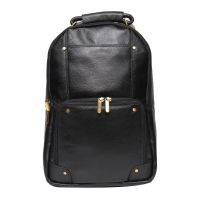 Comfort 18 Inch Pure Black Leather Backpacks Bag For Men And Women EL83