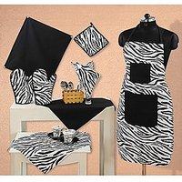Swayam Kitchen Linen Set 8 Pcs In Black  White