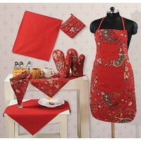 Swayam Kitchen Linen Set 8 Pcs In Maroon