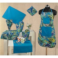 Swayam Kitchen Linen Set 8 Pcs In Turquoise
