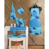 Swayam Kitchen Linen Set 8 Pcs In Turquoise - 74701076