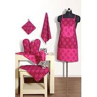 Swayam Mozart Kitchen Linen Set 8 Pcs In Magenta