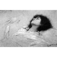 Study Sheet With The Upper Body Of A Girl And Sketches By Klimt - Museum Canvas Print