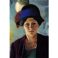 Portrait Of The Wife Of The Artist With A Hat By Macke - Museum Canvas Print