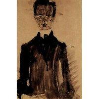 Self-Portrait In A Black Robe By Egon Schiele - Fine Art Print