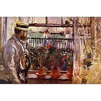 Eugen Manet A I'Lle De Wright By Morisot - Fine Art Print