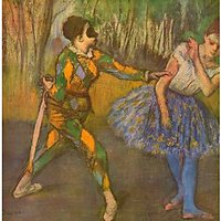 Harlequin And Columbine By Degas - Museum Canvas Print