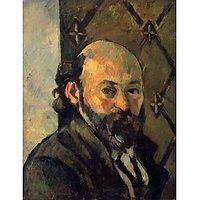 Self-Portrait In Front Of Wallpaper By Cezanne - Fine Art Print