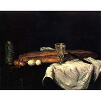 Still Life With Bread And Eggs By Cezanne - Canvas Art Print