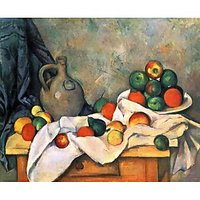 Still Life, Drapery, Pitcher And Fruit Bowl By Cezanne - Canvas Art Print