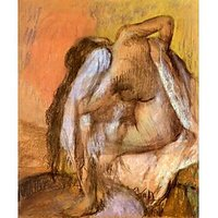 Seated Female Nude Drying Neck And Back By Degas - Museum Canvas Print