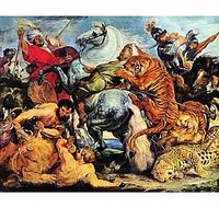 Lion And Tiger Hunting By Rubens - Canvas Art Print